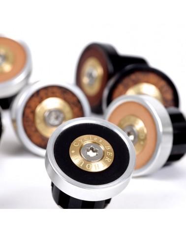 Handlebar end plugs leather anodised alloy Berthoud