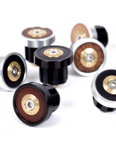 Handlebar end plugs leather anodised alloy Berthoud