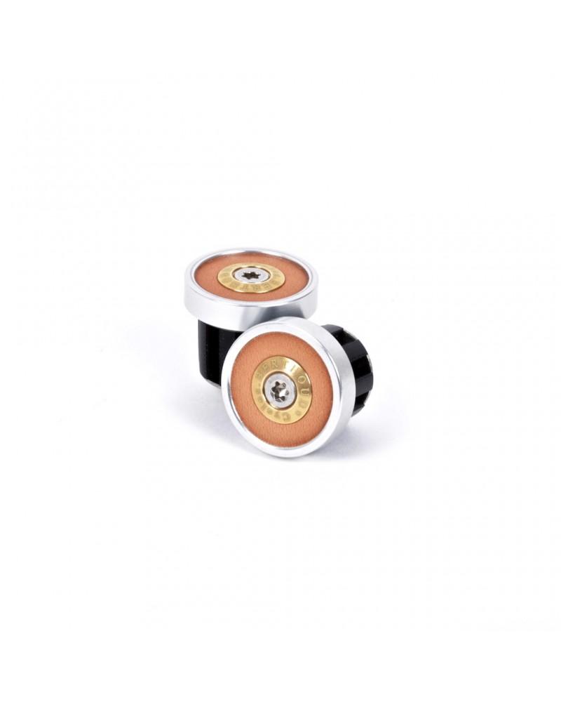 Bouchons Berthoud aluminium anodisé argent et cuir naturel (la paire)