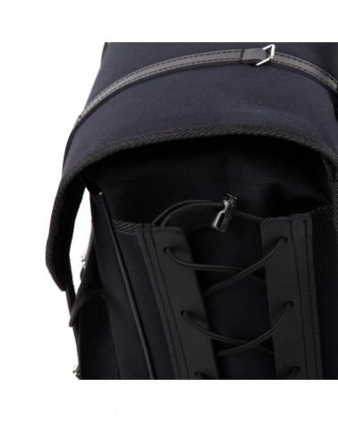 Sacoches latérales surbaissées randonneur Berthoud toile coton noir cuir végétal teinté noir