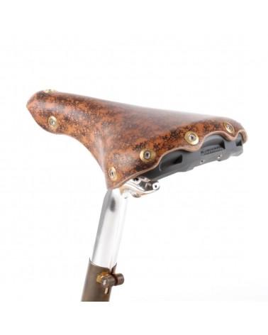 Selle vélo cuir dame rails titane randonnée Berthoud Agnel