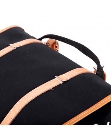 Sacoches latérales surbaissées randonneur Berthoud toile coton noir cuir végétal naturel
