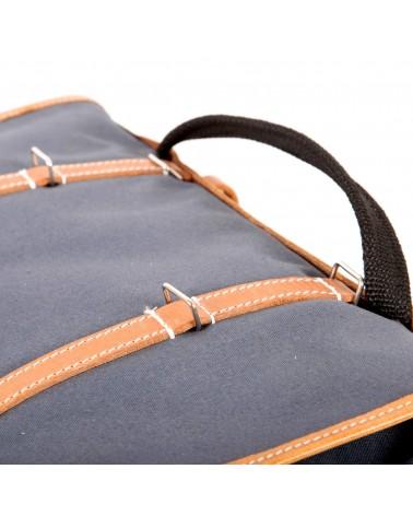 Sacoches latérales surbaissées randonneur Berthoud toile coton gris cuir végétal naturel
