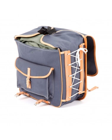 classic randonneur lowrider front pannier grey cotton canvas vegtan natural leather