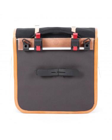 classic randonneur lowrider front pannier black cotton canvas vegtan natural leather