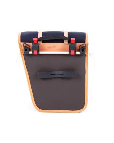classic randonneur lowrider back pannier black cotton canvas vegtan natural leather