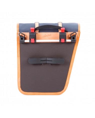 classic randonneur lowrider back panniers black cotton canvas vegtan natural leather