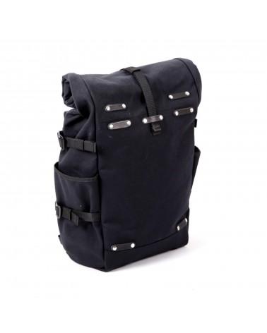 sacoche latérale convertible sac à dos rolltop toile coton noir