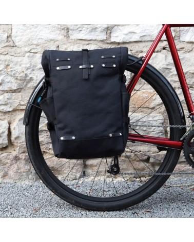sacoche latérale berthoud urbain commuter rolltop convertible sac à dos toile coton noir imperméable
