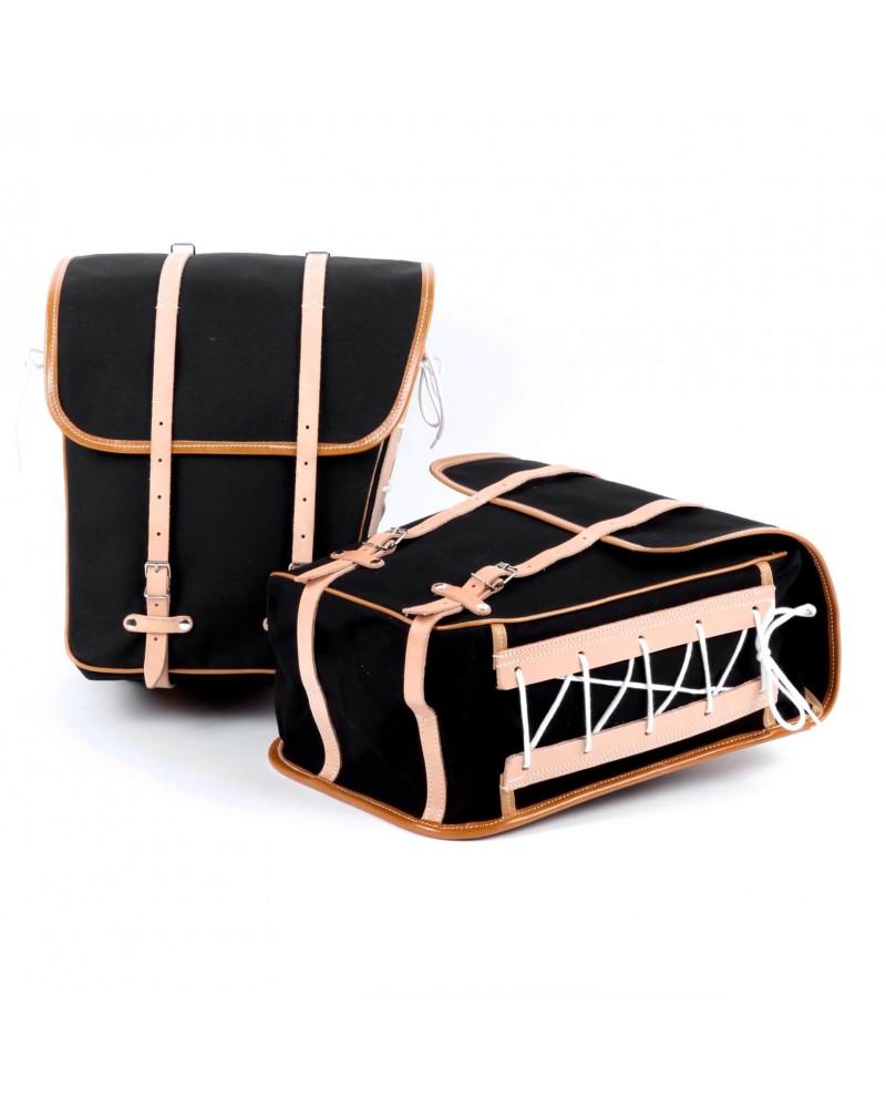 sacoches latérales surbaissées berthoud toile coton noir cuir naturel