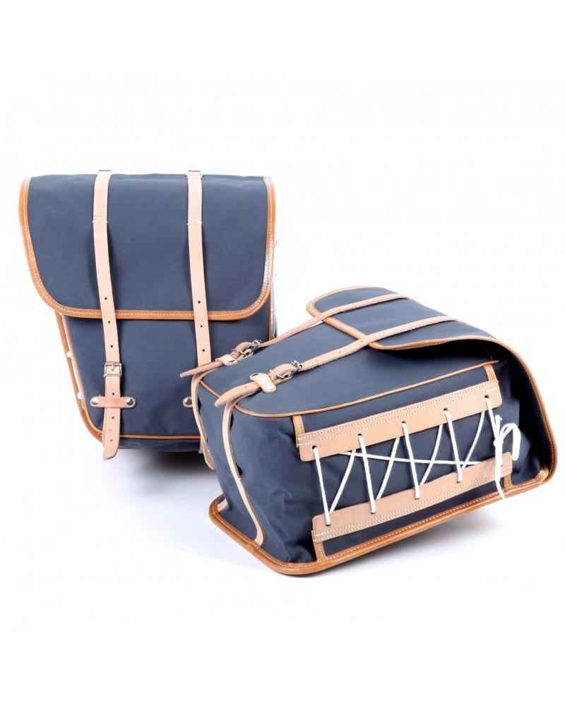 Sacoches latérales randonnée surbaissées  Berthoud toile coton gris cuir naturel