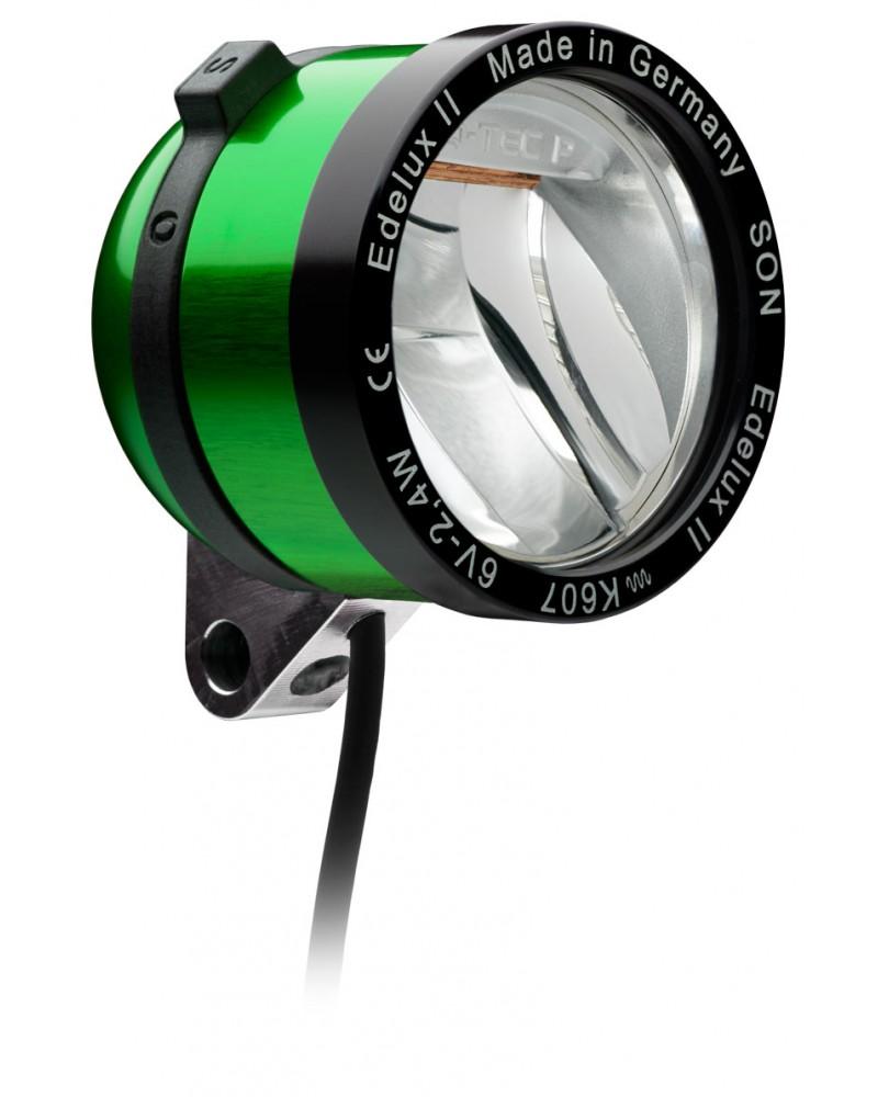 Phare Edelux LED vélo moyeu dynamo vert clair