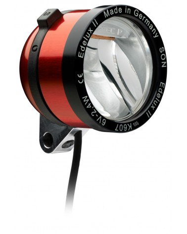Phare Edelux rouge LED vélo moyeu dynamo