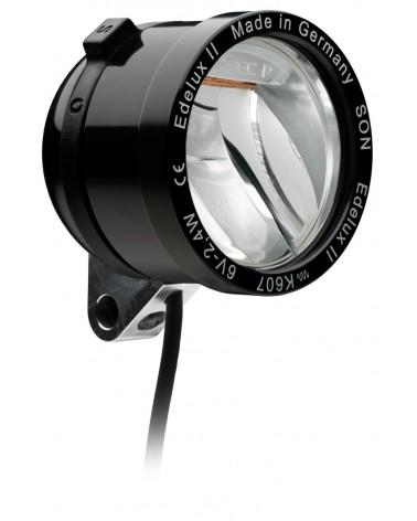 Phare Edelux noir LED vélo moyeu dynamo